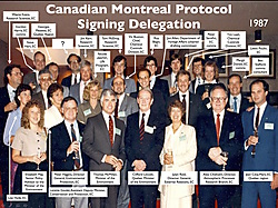 The signing photo from Canada's 1987 Montreal Protocol delegation.