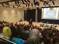 A photo from the audience of Halifax's Get Science Right town hall. Source: tweet by @AndyFillmoreHFX.