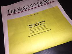 The front page of the Vancouver Sun, featuring a full-page Conservative ad. (Image source)