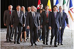 The First Ministers of Canada emerge from discussions on climate change. (Image source).
