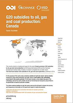 This joint IISD/ODI/OCI report compiles publicly available information on fossil fuel production subsidies in Canada.